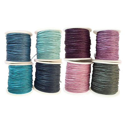 8 Rolls 80 Meters Waxed Cotton Cord String for Handmade Jewelry Making 1mm