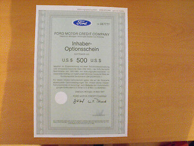 USA Ford Motor Credit Company Optionsschein 1987 Auto