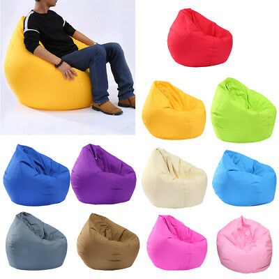 Waterproof Solid Color Bean Bag Cover Only Home Toys Clothes Pillow Storage Bag