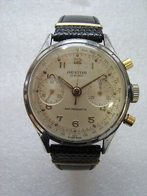 Orator Chronograph Herrenuhr Handaufzug um 1950 Swiss Made