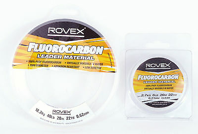 Rovex Fluorocarbon Fly Leader 20m spools