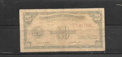 PHILIPPINES #130b 1949 20 CENTAVOS VG CIRCULATED OLD BANKNOTE PAPER MONEY BILL