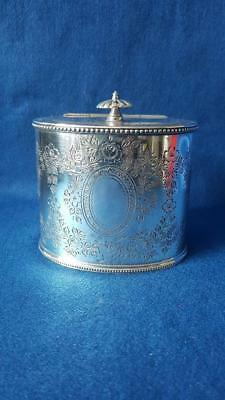 Spectacular Late 1900s Edwardian Antique Walker and Hall Silver Plated Tea Caddy
