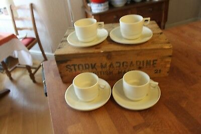Vintage Set 4 Cream Plastic Cups Saucers from Sirram Picnic Hamper – Great! –