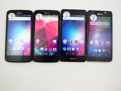 Lot of 4 Assorted BLU Cellphones Unknown Carrier Check IMEI Grade C 5-785