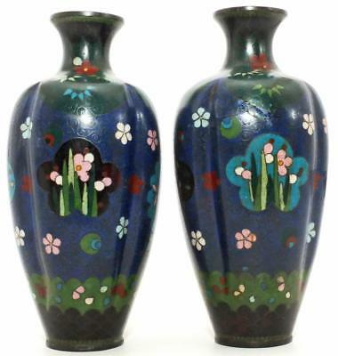 SUPER PAIR OF JAPANESE 19th C CLOISONNE VASES QUATREFOIL SHAPE