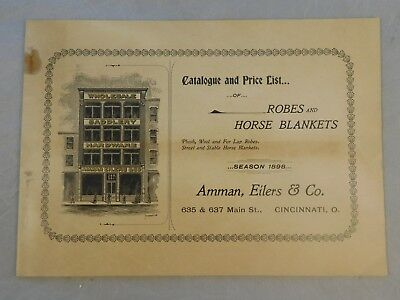 Antique 1898 Amman Eilers & Co Robes And Horse Blankets Advertisement Catalog