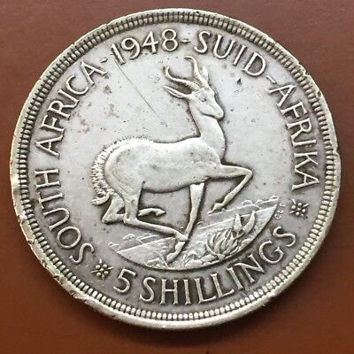 1948 South Africa 5 Five Shillings Suid African Silver Coin - TCC
