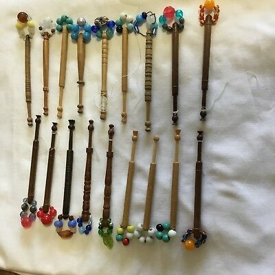 Eighteen Various  Hard Wood And And Plastic Lace Maker's Bobbins