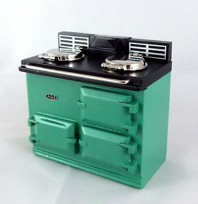 Dolls House Green Aga Stove Oven Miniature 1:12 Scale Reutter Kitchen Furniture