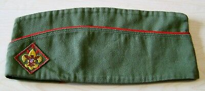 Vintage Official BSA Boy Scout GARRISON HAT Olive Green Sz Large
