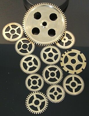 CLOCK PARTS * GEARS COGS * POLISHED BRASS * STEAMPUNK MODEL MAKERS LOT OF 12pcs