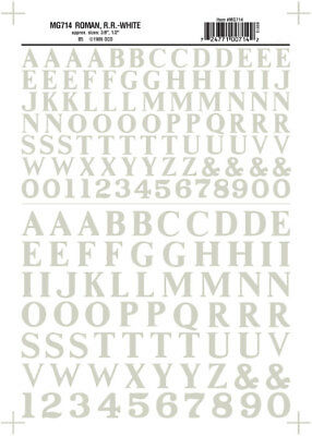 "NEW Woodland Train Decal Sheet Roman R.R. Letters White 3/8-1/2"" MG714"