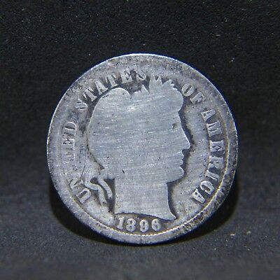 1896-S Barber Dime Better Date San Francisco Issue G Details Cleaned Rev Scratch