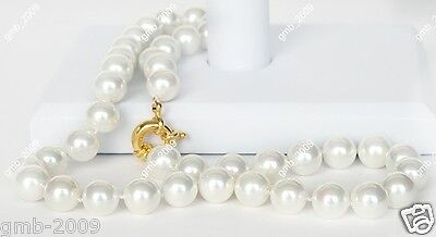 """10mm Genuine White South Sea Shell Pearl Round Gemstone Necklace 18"""" AAA"""
