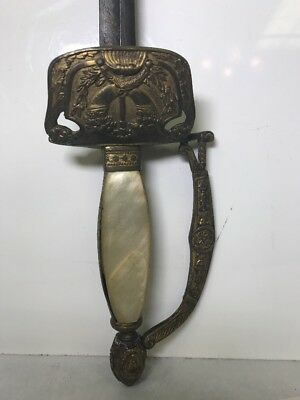 19th Century Diplomatic Sword Mother of Pearl Handle Etched Blade