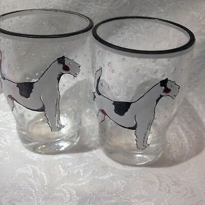 Vintage Drinking Glasses with Wire Fox Terrier Dogs