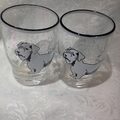 Vintage Drinking Glasses with Sealyham Terrier Dogs