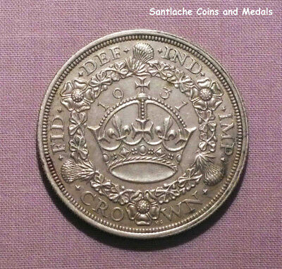 1931 King George V Silver Wreath Crown - Scarce Coin Low Issue
