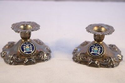 Vintage Pair of Electroplated Silver Perfection Candlesticks with Blue Emblem