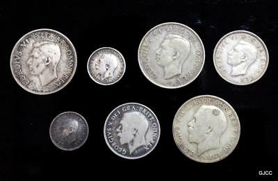 Lot of 7 Pre-1950 United Kingdom .500 Silver Coins