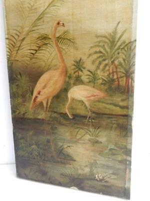 REALLY old PAINTING oil pond bird signed 1906