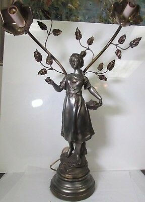 Antique French Signed Moreau Art Nouveau White Metal Lamp Young Girl & Leaves