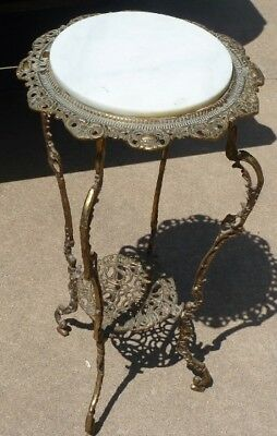 Antique Victorian Style 2 Tier Ornate Brass & Marble Plant Stand w/ Rd Marble To