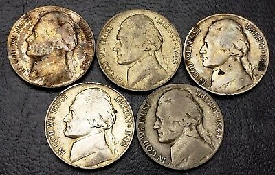 Lot of 5x USA Jefferson 1940s SILVER War Nickel 5 Cents Coins - Great Condition