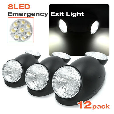 |12Pack|Black Emergency Exit Bug Eye Light Standard LED Spot Light w/Side Lights