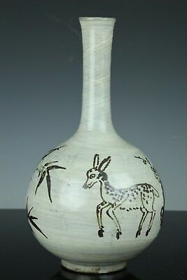 Korean Late Joseon Porcelain Hakeme Iron Glaze  Crane Deer Bottle Mar163