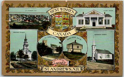 """St. Andrews by-the-Sea NB Postcard """"BEST WISHES Canada"""" Multi-View Dated 1919"""
