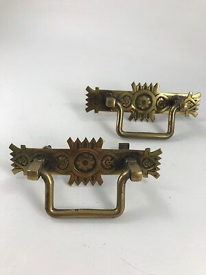 Pair Of Antique/vintage Ornate Brass Drawer Pulls