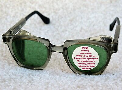Vintage Willson Adjustable Frame/Green Lens Safety Glasses with Screen Shields