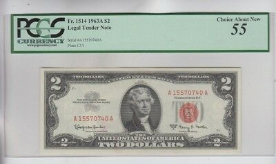 Legal Tender $2 Red Seal 1963-A PCGS graded choice about new 55 Please READ back
