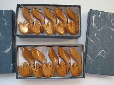 Lot of 10 NICE Vintage Hand Carved Chopstick Rest Holders Fox Cat Squirrel ??