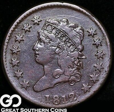 1812 Large Cent, Classic Head, Tough Choice VF Early Copper