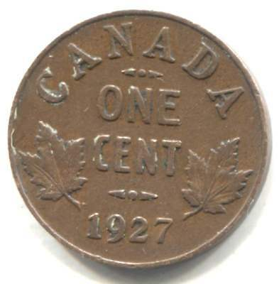 1927 Canadian 1 Cent Maple Leaf Penny Coin - Canada - King George V