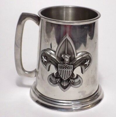Vintage Boy Scouts Of America English Pewter Beer Stein Crest Mug Logo Insignia