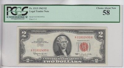 Legal Tender $2 Red Seal 1963 PCGS graded choice about new 58