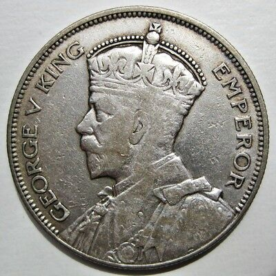 New Zealand 1933 King George V Silver Half Crown Coin (Km#5)