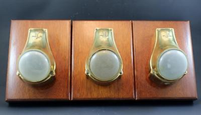 C1910 Set of 3 Tugboat Sconces Polished Cast Brass & Glass Mounted on Wood