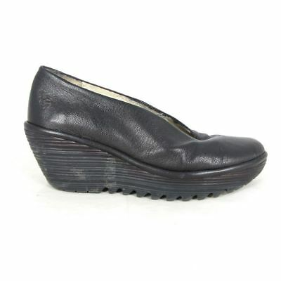 c9a7e4f3e829 39   8.5 US - FLY LONDON Black Leather Tractor Sole YAZ Wedge Shoes 1025BR