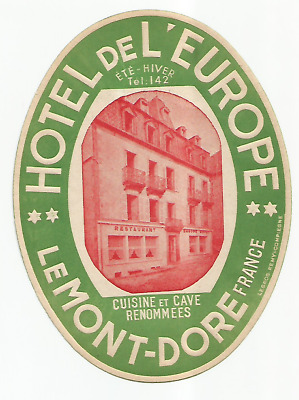 HOTEL L'EUROPE luggage label (MONT-DORE)