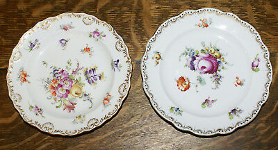 """TWO 19th Century Hand Painted Floral Meissen Dresden 7.25"""" Plates * Signed"""