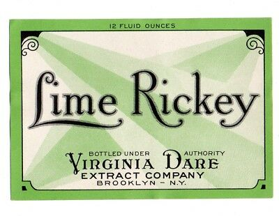 1920s VIRGINIA DARE EXTRACT CO, BROOKLYN, NEW YORK LIME RICKEY LABEL