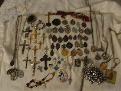Vintage Antique Big Lot Of 72 Religious Medals & Rosaries Crosses, Some Sterling
