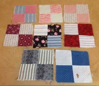 Eight Antique Patchwork Quilt Blocks, Four Patch, Hand Sewn, Early Calicos