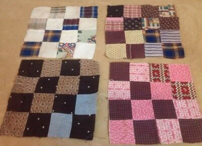 Four Antique Quilt Blocks, Four Patch, Patchwork, Hand Sewn, Early Calico Fabric