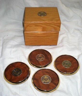Pacific Gas & Electric Company (PG&E) coaster set, solid brass, orig display box